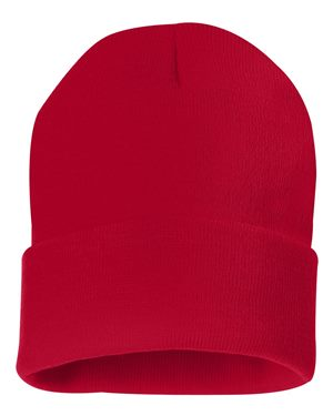 "Solid 12"" Knit Beanie - Red"