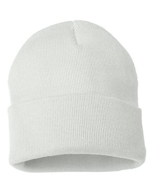 "Solid 12"" Knit Beanie - White"