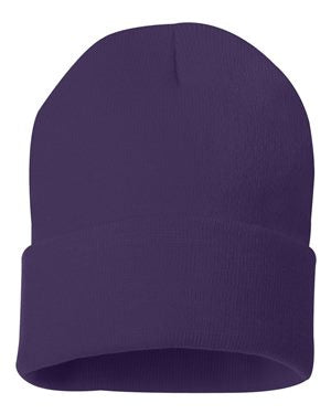 "Solid 12"" Knit Beanie - Purple"