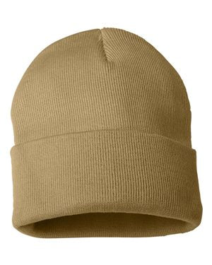 "Solid 12"" Knit Beanie - Camel"