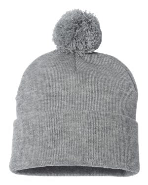 Light Grey Pom Beanie
