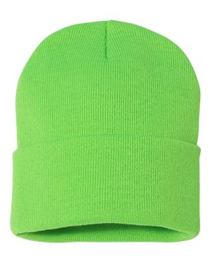 "Solid 12"" Knit Beanie - Neon Green"