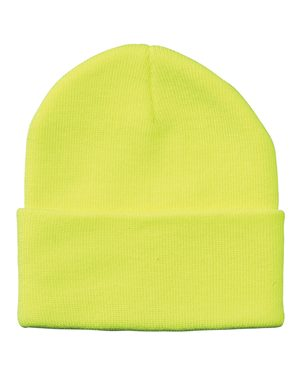 "Solid 12"" Knit Beanie - Safety Yellow"