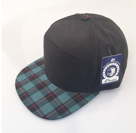 Black/ Green Plaid 6-Panel Hybrid Snapback