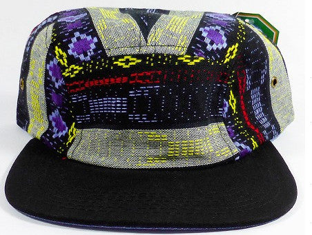 Blue Tribal/ Black 5-Panel