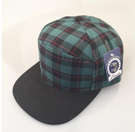 Green Plaid/ Black 6-Panel Hybrid Snapback