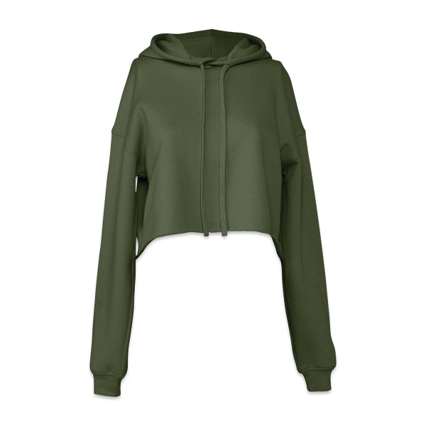 Women's Cropped Fleece Hoodie - Military Green