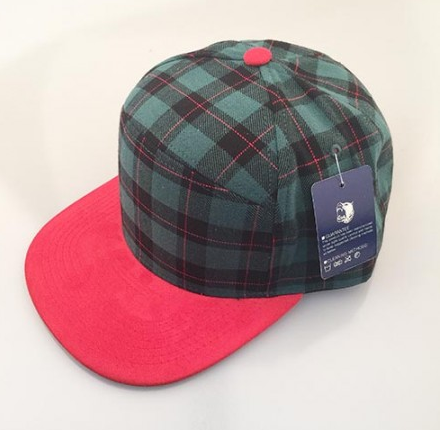 Green Plaid/ Red 6-Panel Hybrid Snapback