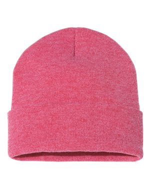 "Solid 12"" Knit Beanie - Heather Red"