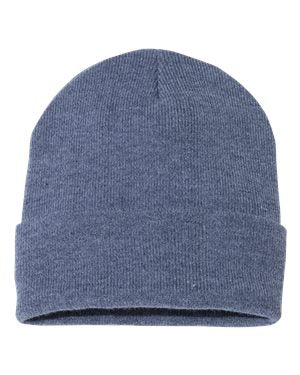"Solid 12"" Knit Beanie - Heather Navy"