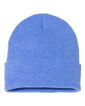 "Solid 12"" Knit Beanie - Heather Royal"