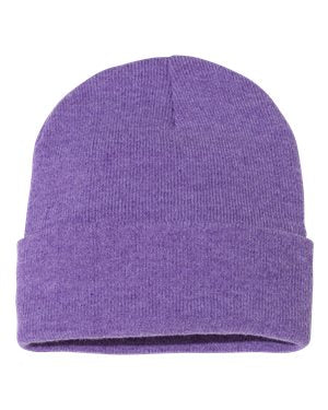 "Solid 12"" Knit Beanie - Heather Purple"