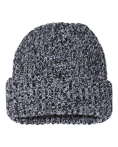 Chunky Beanie - Black/ Natural Heather