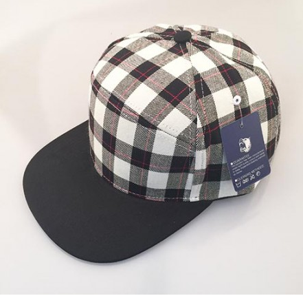 Black & White Plaid/ Black 6-Panel Hybrid Snapback
