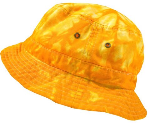 SPIDER GOLD BLUE TIE DYE BUCKET HAT