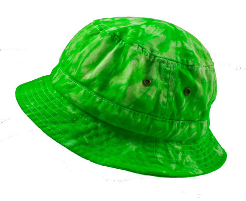 SPIDER GREEN TIE DYE BUCKET HAT