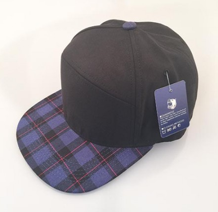 Black/ Purple Plaid 6-Panel Hybrid Snapback