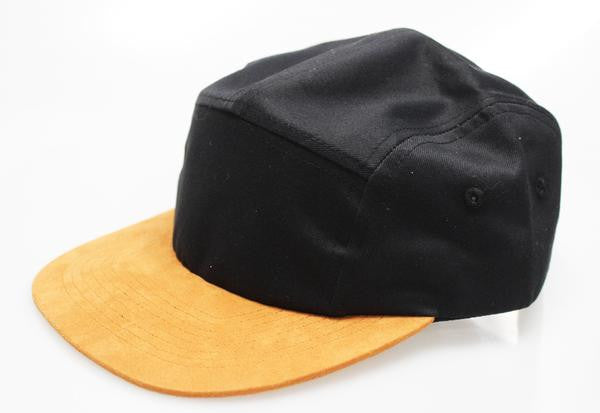 BLACK COTTON / SUEDE 5-PANEL (SALE)