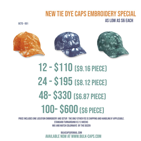 Tie Dye Embroidered Cap Special