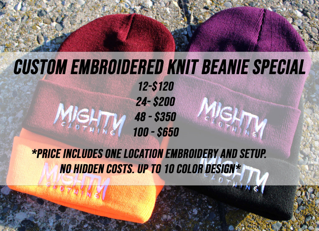 Custom Embroidered Knit Beanie Package Deal