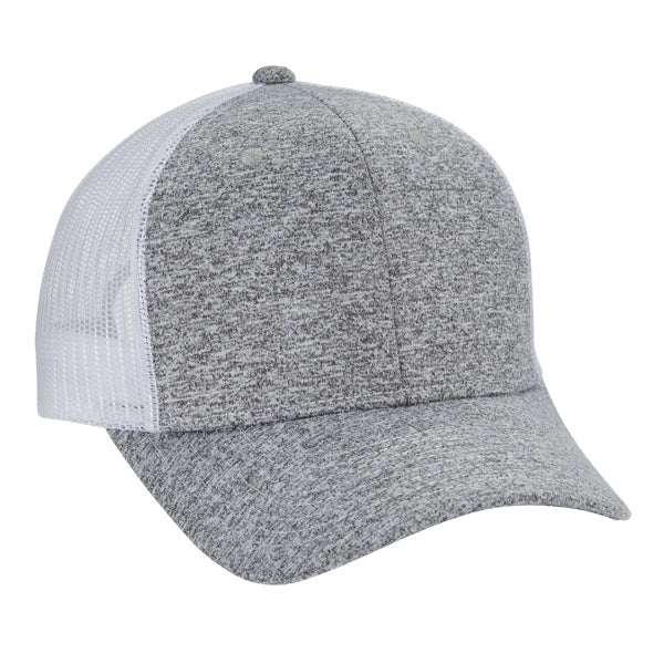 Tri Blend 6-Panel Mesh Dad Hat - Heather/ White