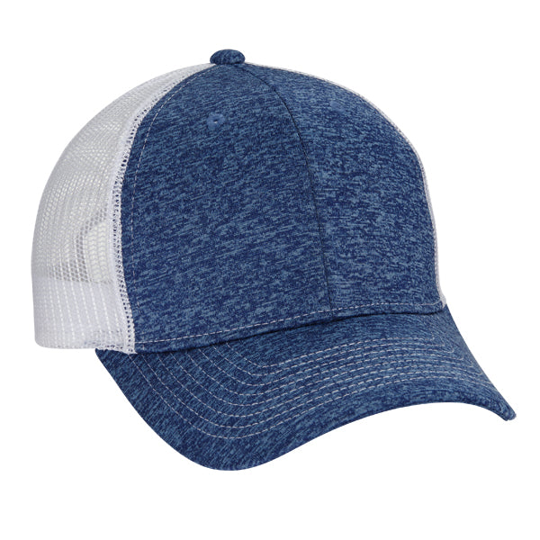 Tri Blend 6-Panel Mesh Dad Hat - Navy/ White