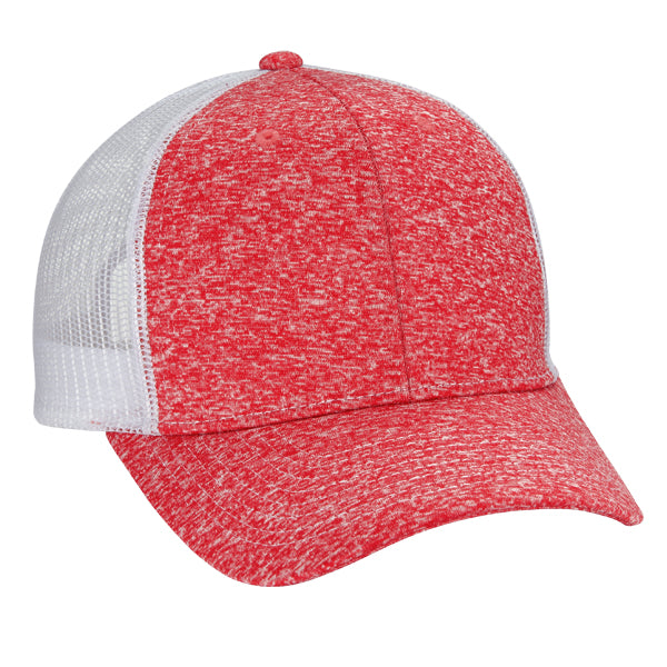 Tri Blend 6-Panel Mesh Dad Hat - Red/ White