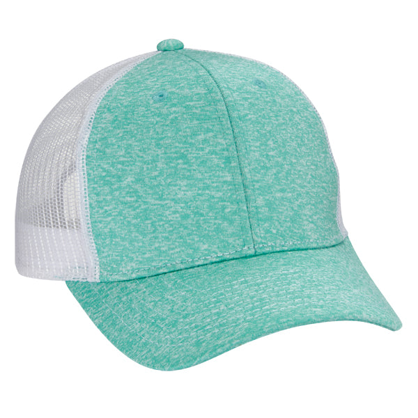 Tri Blend 6-Panel Mesh Dad Hat - Teal/ White