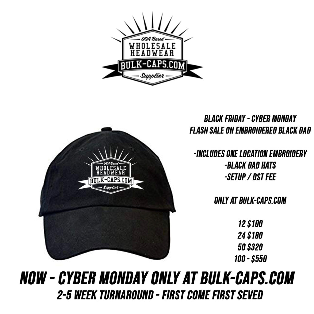 BLACK FRIDAY CUSTOM EMBROIDERED BLACK DAD HAT FLASH SALE