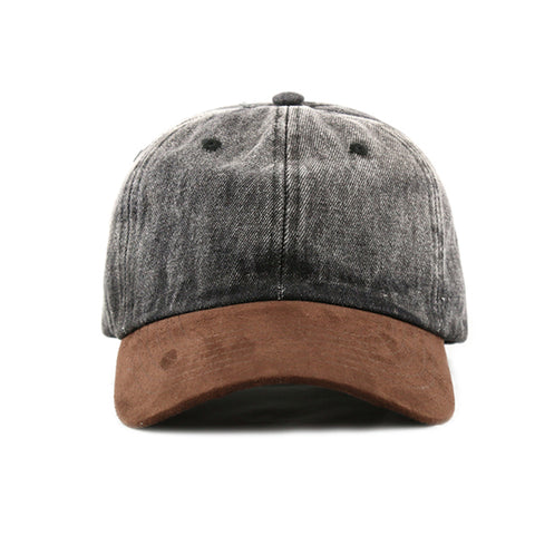 BLACK DENIM / SUEDE 6-PANEL DAD HAT