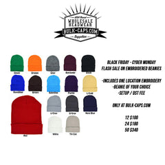 BLACK FRIDAY CUSTOM EMBROIDERED BEANIE FLASH SALE