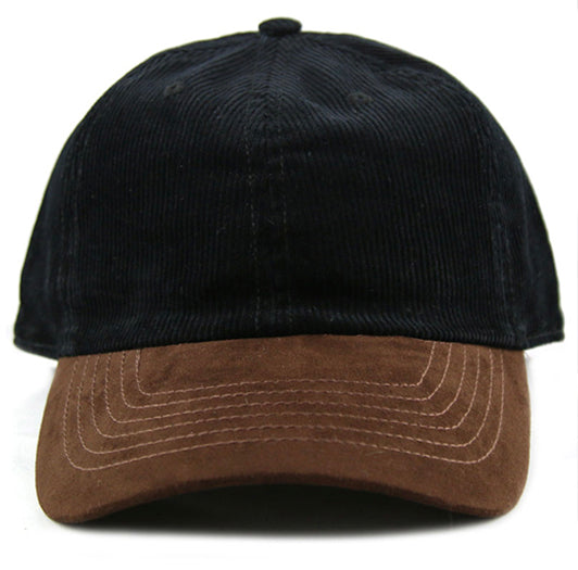 Black Corduroy/ Suede 6-Panel Dad Hat