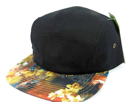 Black/ Red Wild Flower Floral 5 Panel Camper Hat