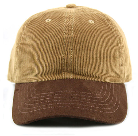 Brown Corduroy/ Suede 6-Panel Dad Hat