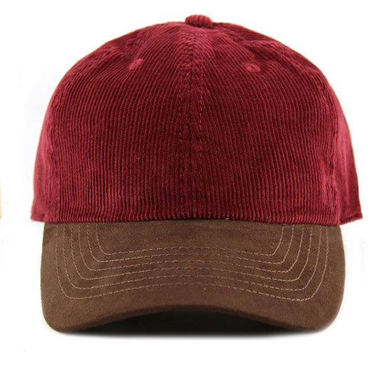 Burgundy Corduroy/ Suede 6-Panel Dad Hat