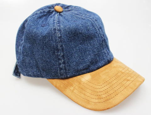 5d8eae48c30 Premium Denim   Suede Dad Hat (Unstructured Hat)