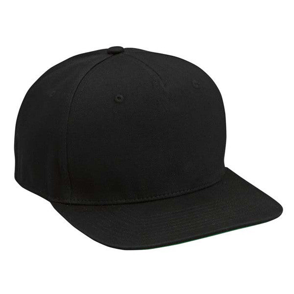 Black Cotton Twill Snapback Hat