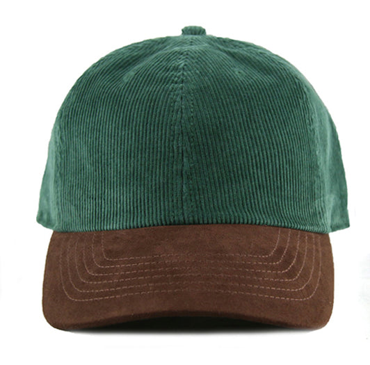 Green Corduroy/ Suede 6-Panel Dad Hat