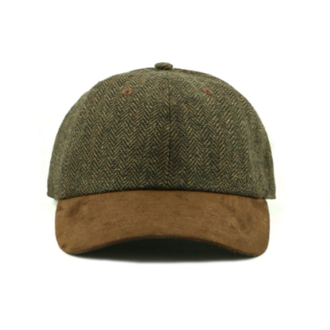 Green Wool Blend/ Suede 6-Panel Cap