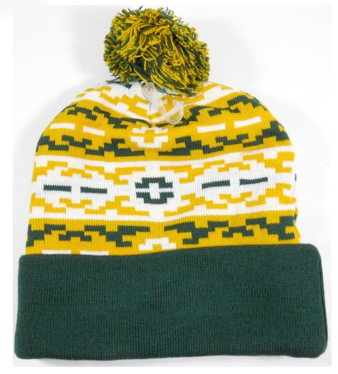 Aztec Pom Beanie Green/ Yellow