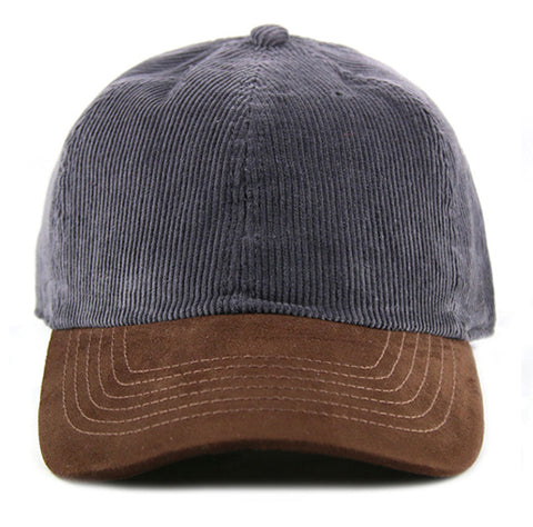 Grey Corduroy/ Suede 6-Panel Dad Hat