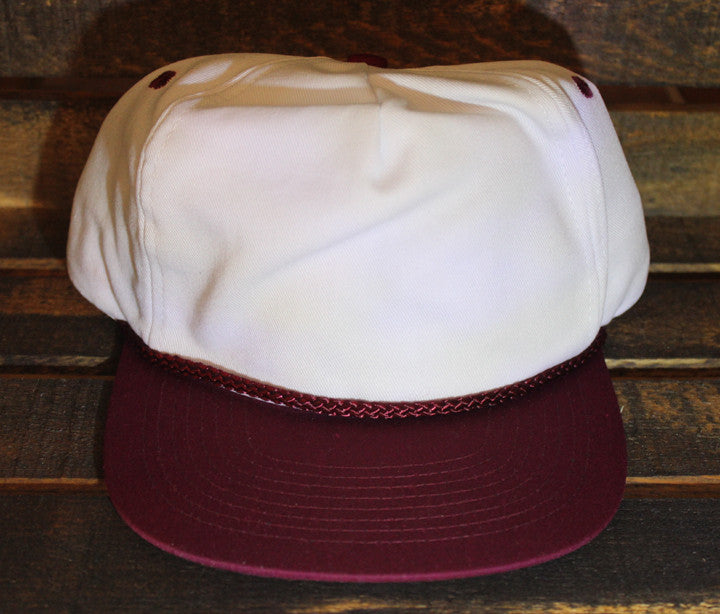 White / Maroon Polyester Golf Cap (SALE)