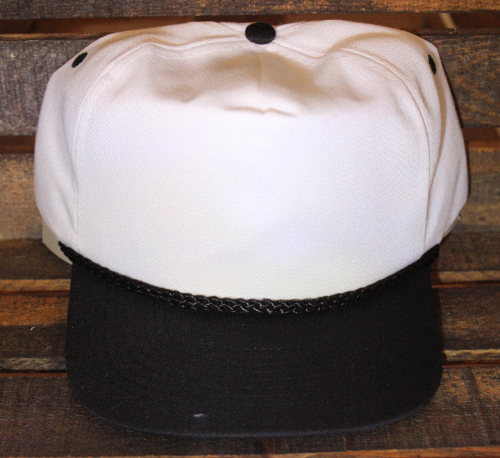 White / Black Polyester Golf Cap (SALE)