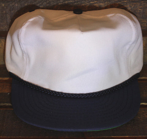 White / Navy Polyester Golf Cap