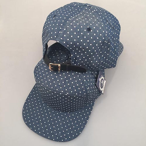 Denim/ White Polka Dot 7-Panel