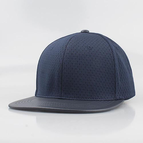 NAVY MESH/ LEATHER SNAPBACK