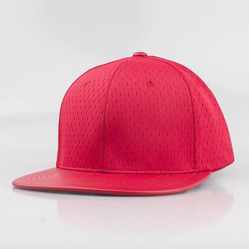 RED MESH/  LEATHER SNAPBACK