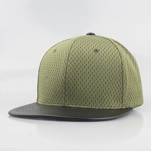 GREEN MESH/  BLACK LEATHER SNAPBACK
