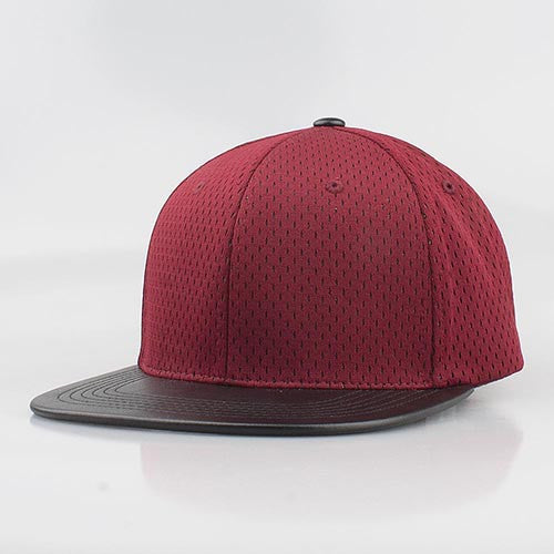 BURGUNDY MESH/  BLACK LEATHER SNAPBACK