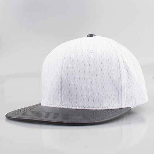 WHITE MESH/  BLACK LEATHER SNAPBACK
